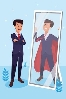 O homem corporativo feliz fez seu trabalho como visão e missão e comemoração, sucesso de liderança e conceito de progresso de carreira, ilustração plana