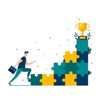 O homem corre em direção ao seu objetivo, movendo-se em direção ao seu sonho motivação, o caminho para atingir o objetivo eps 10