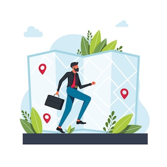 O homem corre para a geolocalização. o homem executa a rota em um aplicativo de serviço de navegação map.gps. mapas, obter metáforas de direções. ilustrações de metáfora de conceito isolado de vetor. obtenha o conceito abstrato de direções