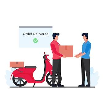 O homem dá o pacote ao receptor com a scooter e a metáfora da notificação do pacote de rastreamento de entrega.