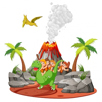 O homem das cavernas brincando com os dinossauros perto do vulcão