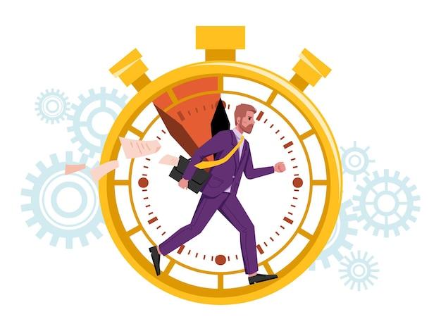 O homem de gerenciamento de tempo funciona dentro do prazo do cronômetro