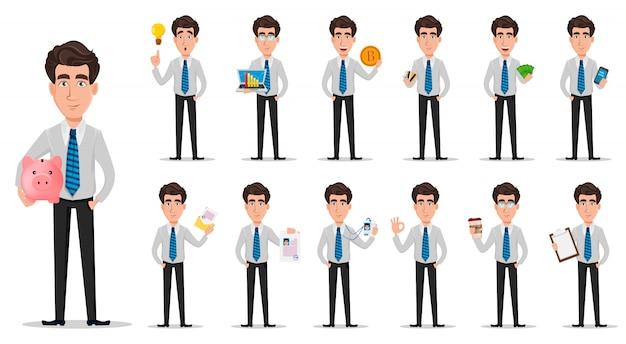 O homem de negócio na roupa do estilo do escritório ajustou-se de treze poses.
