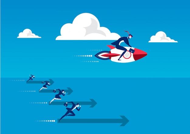 O homem de negócio no motor de foguete em sua parte traseira voa para cima na alta velocidade. conceito de inicialização e sucesso rápido.