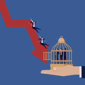 O homem de negócios cai na gaiola do débito quando a carta vai para baixo.