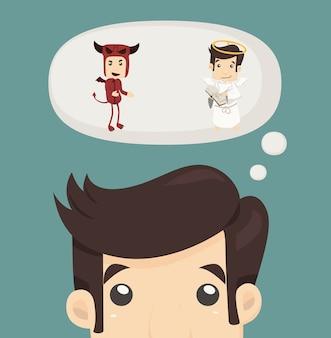 O homem de negócios deseja com o diabo e um anjo
