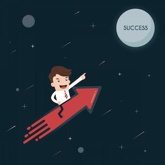 O homem de negócios em um foguete vai ao sucesso da lua.