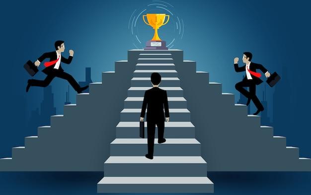 O homem de negócios executado acima na escadaria vai ao objetivo. destino, a vitória ao conceito de sucesso com a idéia. conceito de liderança. escada para o sucesso comercial. caricatura, vetorial, ilustração
