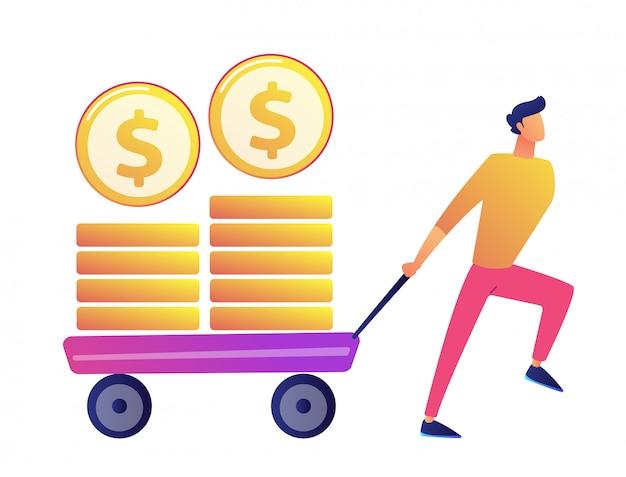 O homem de negócios feliz que puxa o carrinho com moedas douradas vector a ilustração.