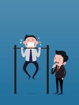 O homem de negócios, o chefe, está soando o apito para sinalizar para treinar o pessoal do sexo masculino fazendo o chin-up bar. vetor de conceito