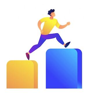 O homem de negócios que corre acima as colunas representa graficamente a ilustração do vetor.