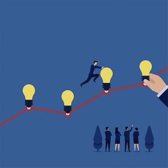O homem de negócios salta sobre ideias acima da metáfora da linha de carta da ideia nova ao crescimento.