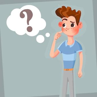 O homem de pensamento dos desenhos animados com ponto de interrogação em pensa a bolha.