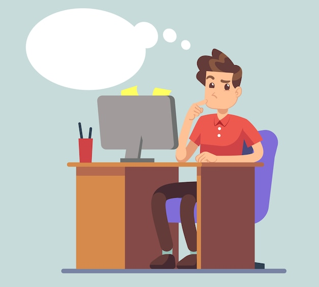 O homem de pensamento e pensa a bolha. estudante na mesa com o conceito de vetor de educação portátil. pensamentos de personagem masculino sobre negócios on-line