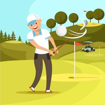 O homem de sorriso no uniforme branco do esporte bateu a bola de golfe.