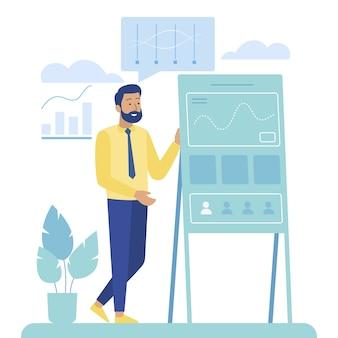 O homem dos desenhos animados executa o relatório analítico no painel