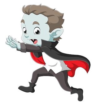 O homem drácula está correndo e pegando as pessoas da ilustração