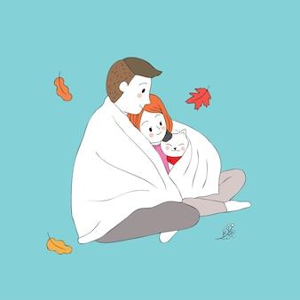 O homem e a mulher bonitos do outono dos desenhos animados abraçam o vetor do gato.