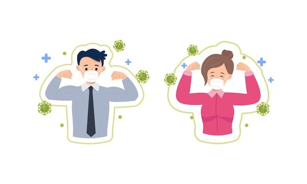 O homem e a mulher do escritório mostram um gesto com a mão como sinal de boa imunidade contra o vírus corona.