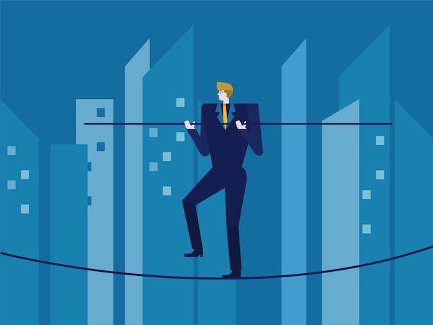 O homem em calçados se equilibra na corda. elementos de design planos