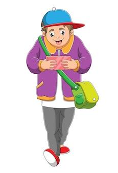 O homem está brincando de celular enquanto caminha de ilustração