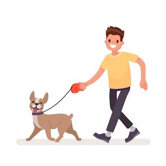 O homem está caminhando com um cachorro. em um estilo simples