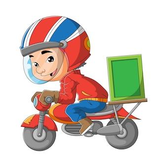 O homem está carregando a caixa com a motocicleta da ilustração