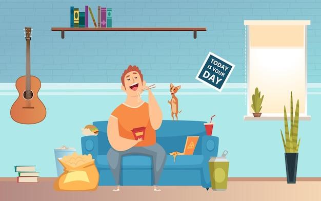 O homem está comendo demais. cara gordo, vício em comida e problemas de comportamento.