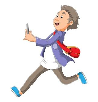 O homem está correndo e segurando o celular da ilustração