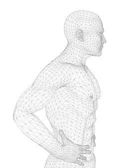 O homem está dobrando as mãos no cinto. a pessoa de constituição atlética espera ou está relaxada. ilustração em vetor de linhas pretas sobre fundo branco.