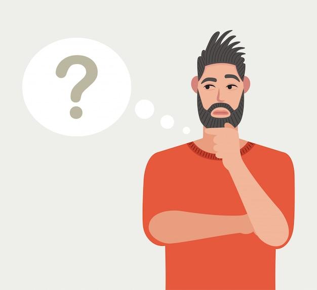 O homem está pensando. ponto de interrogação