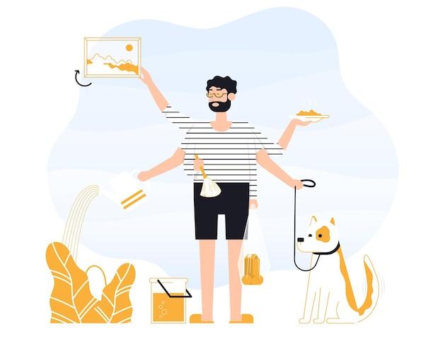 O homem freelancer faz várias coisas ao mesmo tempo. ele está segurando uma bolsa, anda os cachorros, remove a poeira