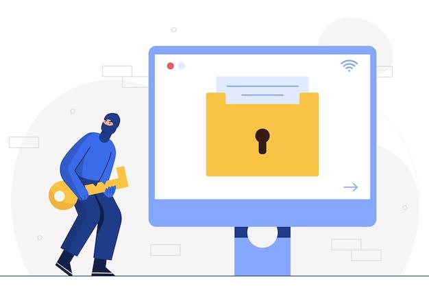 O homem hacker usa um chapéu para cobrir a cabeça e o rosto. segurando informações comerciais de computador para roubo de chaves