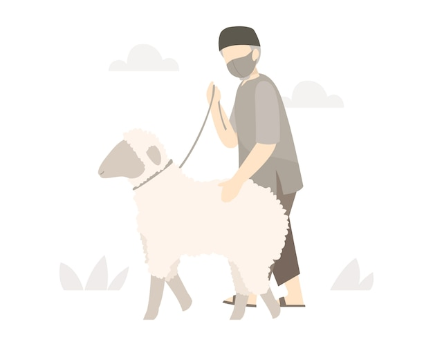O homem muçulmano anda com as ovelhas à mesquita para se sacrificar no eid al-adha celebration illustration