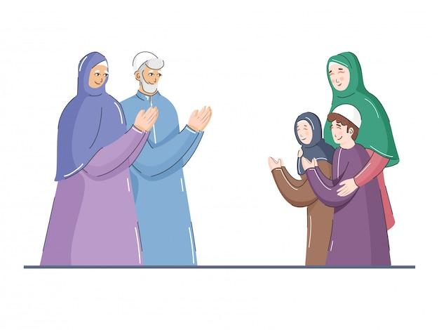 O homem muçulmano com mulheres e crianças em namaste pose no fundo branco.