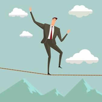 O homem na crise que anda no equilíbrio na corda sobre o céu azul.