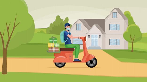 O homem na máscara protetora dirige a motocicleta e entrega bens da ilustração dos desenhos animados da loja.