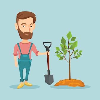 O homem planta a ilustração do vetor da árvore.