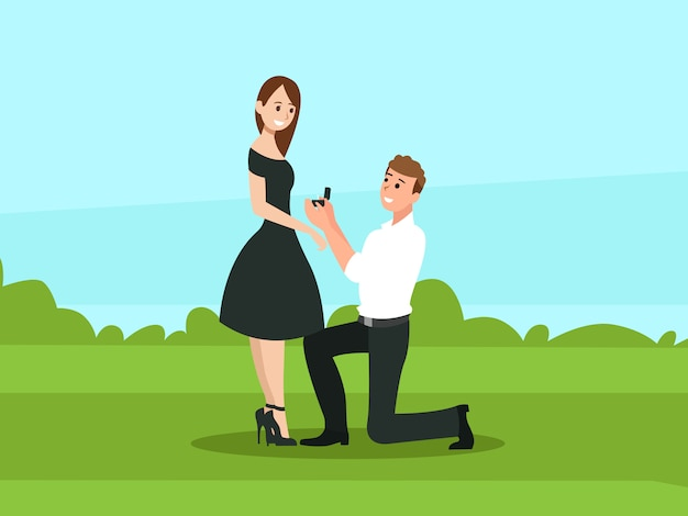 O homem propõe uma mulher para casar com ele