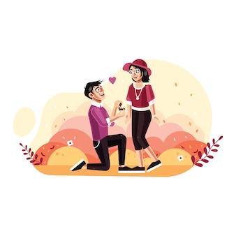 O homem propõe uma mulher para se casar