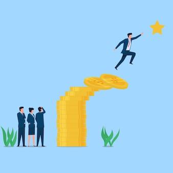 O homem pula para alcançar a estrela com a metáfora da ponte de moedas de esforço e arrisca