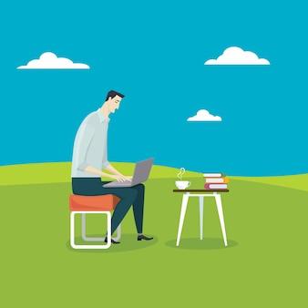 O homem relaxa usa seu computador
