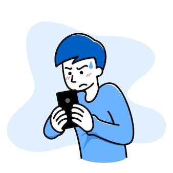 O homem se sente confuso, com raiva, mal quando joga um jogo no celular.
