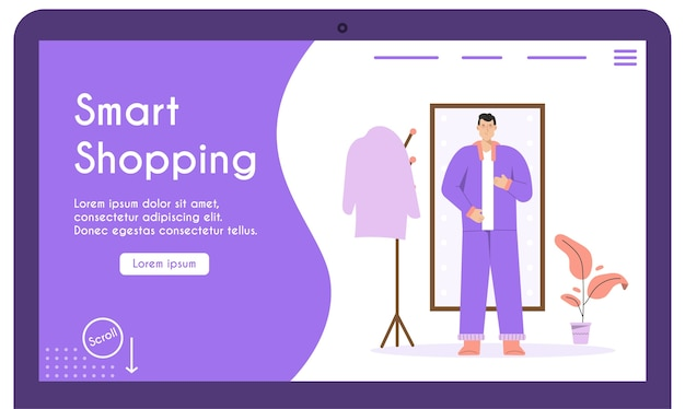 O homem se veste em frente ao espelho de corpo inteiro, prova de roupas online, escolhendo roupas elegantes.