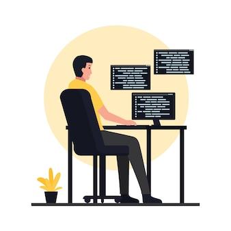 O homem senta em mesas e aplicativos de código. ilustração de programação plana.