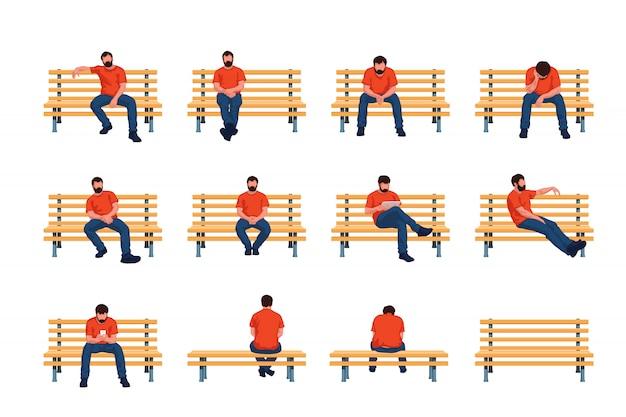 O homem senta no banco