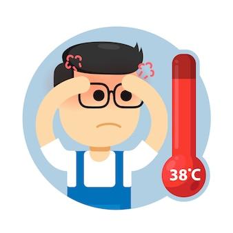 O homem tem febre fria e alta. verificando o corpo usando termômetro digital.