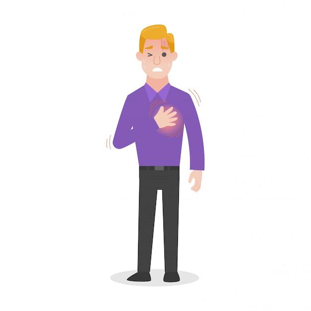 O homem tem o conceito de assistência médica de insolação rápida de frequência cardíaca.