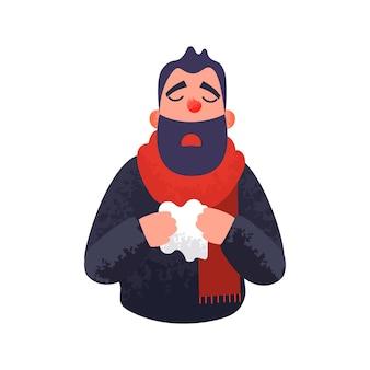 O homem tem um conceito de resfriado e doente de gripe