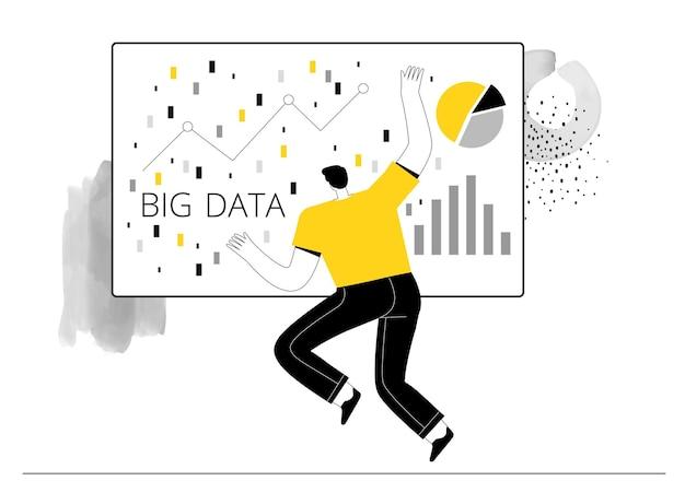 O homem trabalha com big data em servidores e faz estatísticas